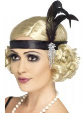1920's Charlston Headband In Black